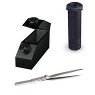 Dial calipers are ideal for measuring length, width, or depth in un-mounted faceted stones.  The refractometer  measures a gemstones ability to bend light or refract light.  Tanita and Escali scales incoroporates  a self-test during the turn-on calibration preventing inaccurate readings and costly mistakes when measuring gemstones weight.