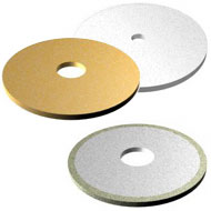 Electroplated and galvanic saws consist of a single layer of super abrasive particles bonded to the saw by a hard nickel matrix. The tough bond enhances free cutting action because of maximized diamond particle exposure.